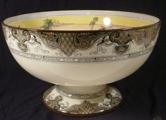 RARE Antique Royal Doulton Desert Scene HUGE Punch Bowl Footed Centerpiece