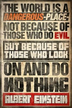 """""""The world is a dangerous place not because of those who do evil but because of those who look on and do nothing."""" - Albert Einstein"""