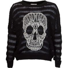 Misumi Black Wavy Skull Stripe Knitted Jumper ($40) ❤ liked on Polyvore sweater, skull stripe