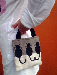 Childs Mini Bag CAT Design Linen by KTmakes on Etsy