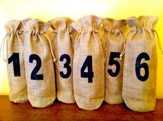 Burlap Bag Wine Bottle Table Numbers