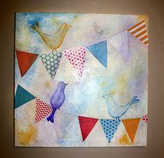 artworks, gala, dream, paper, buntings, diy artwork, blog, birds, child art