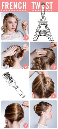 easy up do hairstyles, frenchtwist, french twist how to, french twist hairstyles, beauti