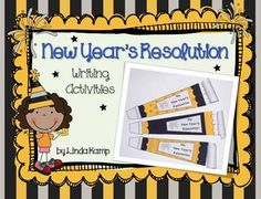 New Year's resolution writing activities: Teach your students about the history of the New Year's resolution and have them write some of their own! Includes mini-lessons on defining a resolution and the history of New Year's resolutions with visuals, student pages and party horn writing craft.