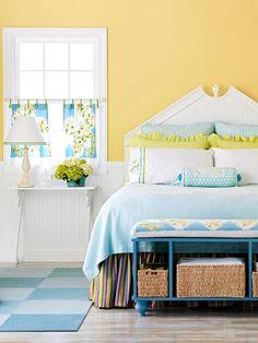 diy bedroom bench, bench storage bedroom, color bedroom ideas, yellow bedroom, diy bedroom colors, bedrooms, colorful curtain ideas, cheap bedroom storage, bed storage