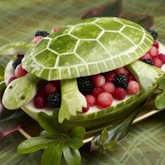 Watermelon Turtle {Edible Fruit Crafts}. So cute!