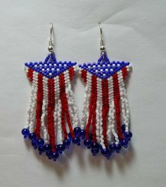 American Flag Triangle Beaded Earrings with Fringe