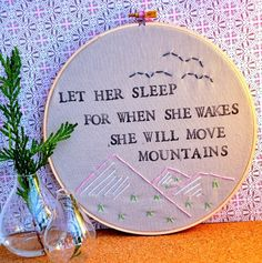 wall art, embroidery quote, little girls, baby girl rooms, daughters room, move mountain, baby girls, little girl rooms, girl power