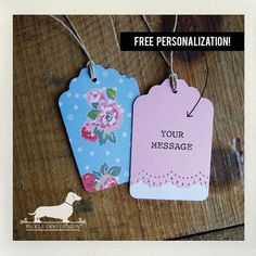 Blue Garden. Personalized Gift Tags Set of 12  by PickleDogDesign, $10.50