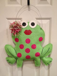 Valentine Frog Burlap Door Hanger by ILoveItDesigns on Etsy, $30.00