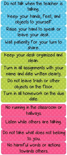 Polka Dot Classroom Rules Cards