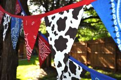 Western theme birthday party: Cow Print with Blue  Red Bandanas Banner Bunting