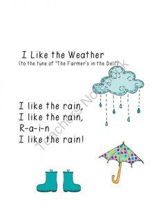 Weather Songs (free; from Growing in Pre-K on Teachers Notebook)