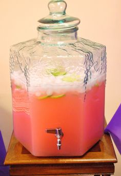 pink fruit punch for baby shower | Pink Lemonade was served with sprite added to give it a little fizz ...