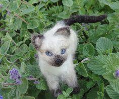 Siamese Kitten Needle Felted Wool Cat by ClaudiaMari on Etsy, $60.00