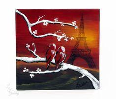 Original Painting on Wood Painted Art Block Bird Art Original Love Bird Painting Wedding Gift  Couple Gift Shelf Sitter Paris Eiffel Tower