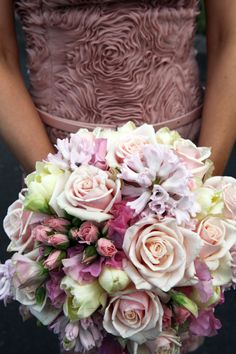 """Spring bouquets featuring cream and pink tones. The bouquet featured pink sweet pea, ice pink hyacinth, cream double tulips, pink miniature roses and dusty pink """"talea"""" roses."""