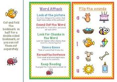 FREE - A bright and colorful freebie - Word Attack and Decoding Strategies Bookmarks and Posters! Handy for parents at home and  in class too :). Happy reading!! #tpt #sarahanne #free