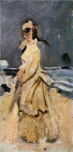 Camille on the Beach - Claude Monet