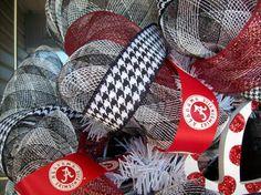 Deco Mesh Alabama Wreath with Mini Bear Bryant Hat. $85.00, via Etsy.