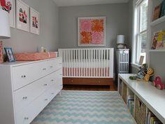 Gray, pink and orange nursery
