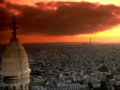 Looking south-west from Montmartre at sunset.