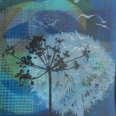 Ghosts Series - Mono Gelli Print with overlaid Screen Print #nikicottonartdotcom #gelliprint #ghosts #monoprint #art #printmaking #beachlife  www.nikicottonart.com