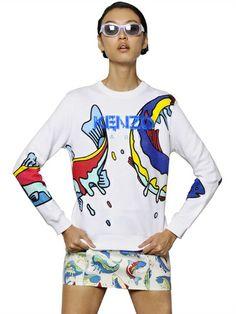 Shop now: Kenzo Printed Cotton Fleece Sweatshirt
