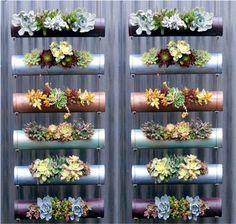 Make a vertical garden from PVC tubes