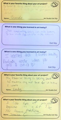 Exit Slips in the Art Room: Plus a whole list of exit slip prompts to inspire you.