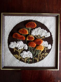 Vintage 70's 3D Flower Crewel Embroidery by patchoulip on Etsy, $14.00. Needs new frame