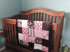 Super Soft Pink And Brown Minky Quilt with Flannel Backing
