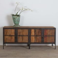 Hyderabad Reclaimed Wood and Metal Buffet (India) | Overstock™ Shopping - Top Rated Bar & Dining Tables