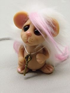 OOAK Handmade Polymer Clay Whimsical Mouse by Woodlandkreatures,