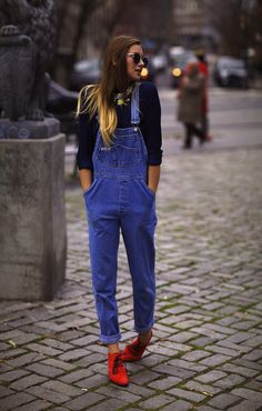 Overalls + a pop of red.