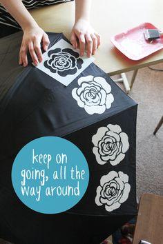 outdoor paint, paint umbrella, umbrellas, color, outdoor project, craft idea, stencil umbrella, diy, black umbrella