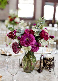 centerpiece galleries, zinnias, event planning, color, weddings, simple centerpieces, wedding flowers, floral designs, garden