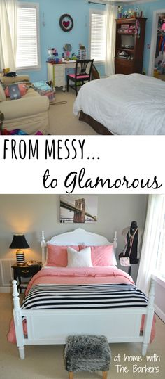Teen Girl Bedroom Makeover-Before and After