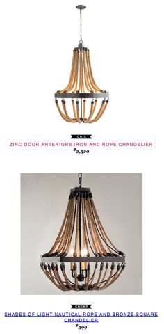 Arteriors Iron and Rope Chandelier $2520 vs Shades of Light Nautical Rope and Bronze Square Chandelier $399