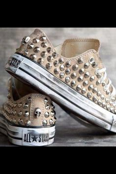 Beige converse with studs !!!!