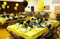 I love the idea of pushing tables together to make larger banquet tables for sisters to sit together.
