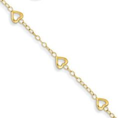 Children's Adjustable 14K Gold Heart Charm Bracelet Available Exclusively at Gemologica.com