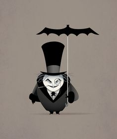"""The Penguin"" by Jerrod Maruyama, via Flickr~ the Batman shaped umbrella is a cool touch."