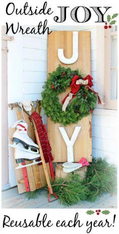 Outdoor JOY Wreath Sign