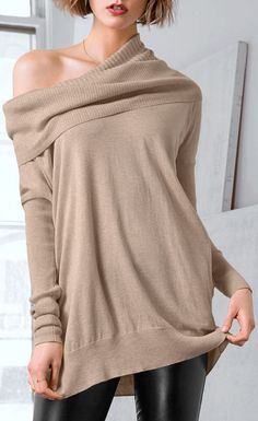 Beige Off the Shoulder Sweater ♥