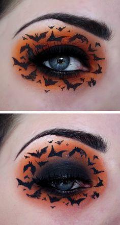 Black & orange bat eye makeup, excellent for Halloween!