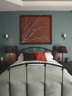 Teal & Brown Bedroom - I'd never leave this room.