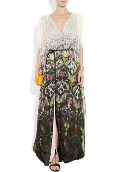 MATTHEW WILLIAMSON  Ikat Faze cape-back silk-chiffon gown
