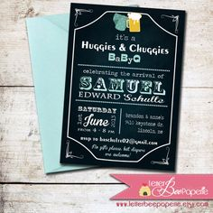 Huggies & Chuggies BBQ Invitation - DIY Printable Invite - Baby Shower - BabyQue - Beer and Diapers Shower, Couples Shower, Sip and See on Etsy, $12.00