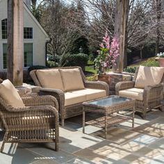 Have to have it. Alfresco Home Cotswold All-Weather Wicker Conversation Set - Seats 4 - $1999 @hayneedle